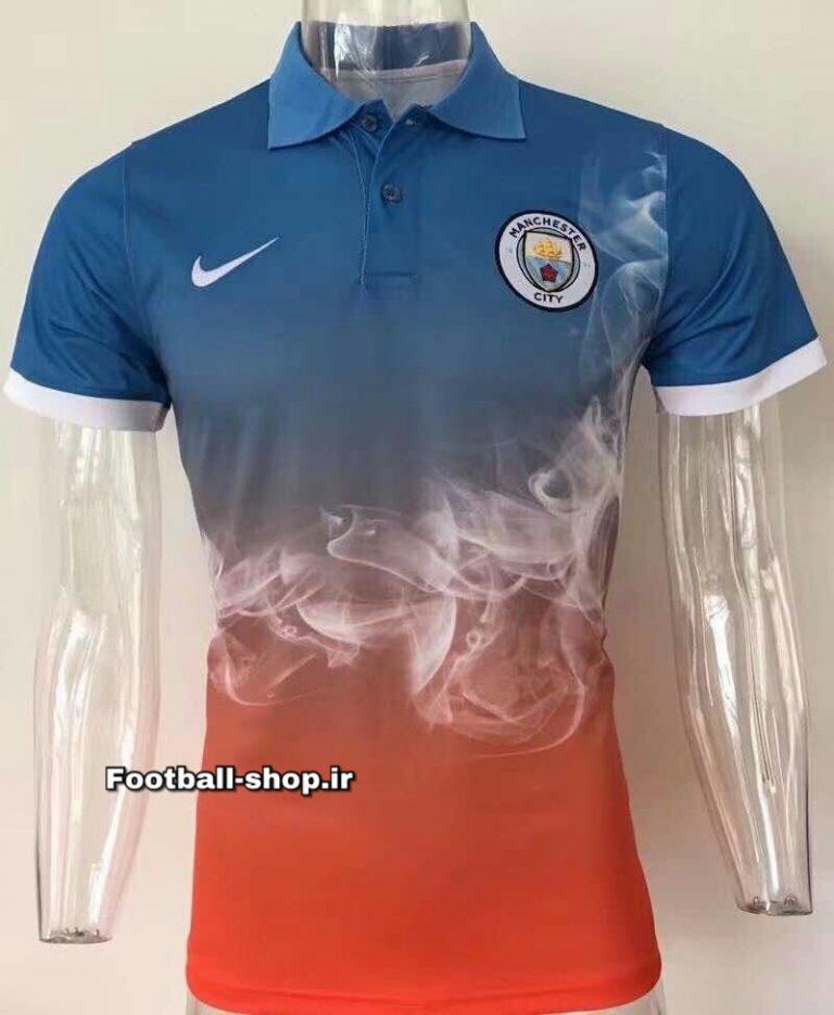 پولوشرت اورجینال آبی نارنجی ابروباد منچسترسیتی-Nike