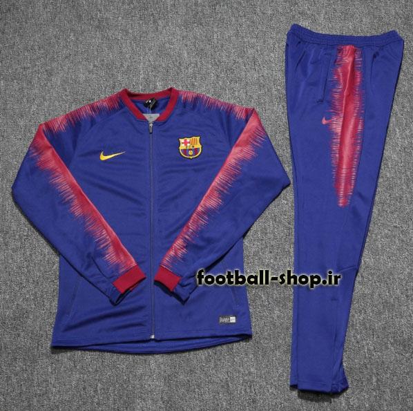 ست گرمکن شلوار حرفه ای آبی اناری 2019 اورجینال بارسلونا-Nike