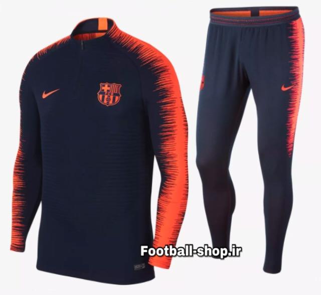 سویشرت شلوار حرفه ای سرمه ای نارنجی اورجینال 2020 بارسلونا-Nike
