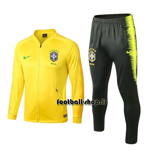 ست گرمکن شلوار حرفه ای زرد مشکی اورجینال برزیل-Nike
