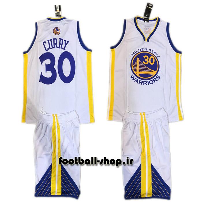 پیراهن و شورت سفید گلدن استیت واریرز ورژن قهرمانی NBA | استفن کری ۳۰#