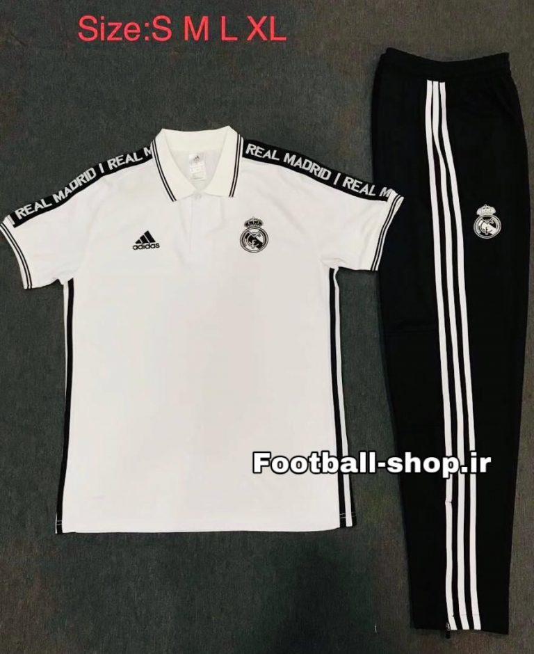 پولوشرت شلوار سفید مشکی اورجینال رئال-Adidas