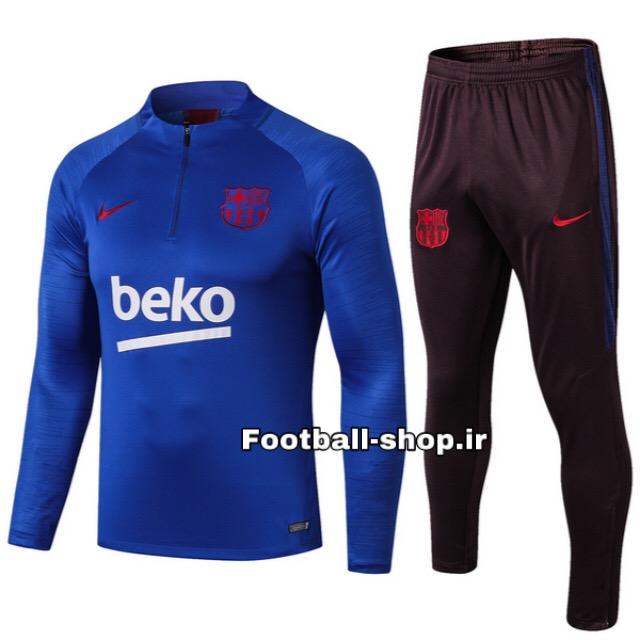 ست سویشرت شلوار حرفه ای آبی مشکی اورجینال 2020 بارسلونا-Nike