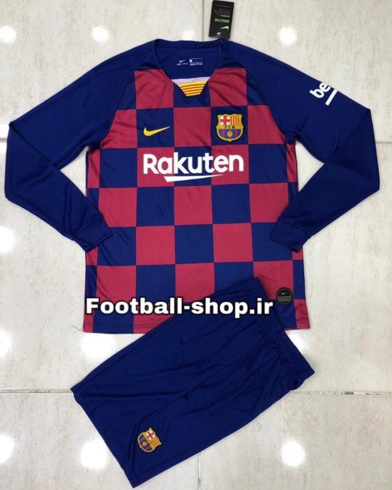 پیراهن و شورت اول آستین بلند اورجینال 2020 بارسلونا-Nike