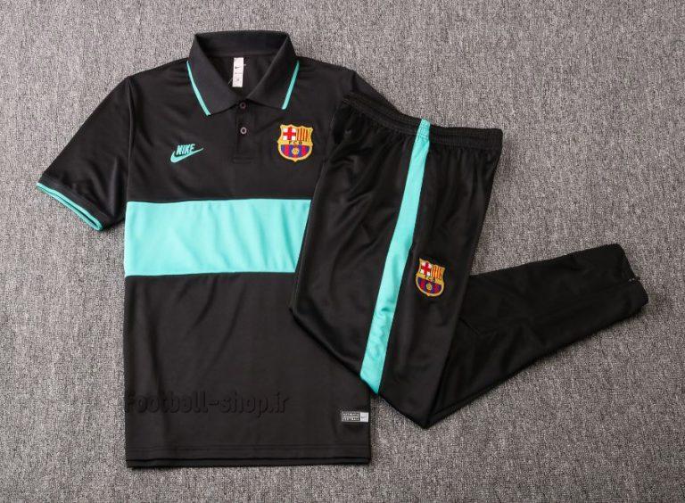 پولوشرت شلوار مشکی آبی اورجینال 2020 بارسلونا-Nike