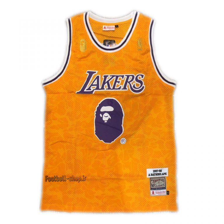 رکابی بسکتبال زرد هواداری لس آنجلس لیکرز 2020|,NBA JERSEY اصل