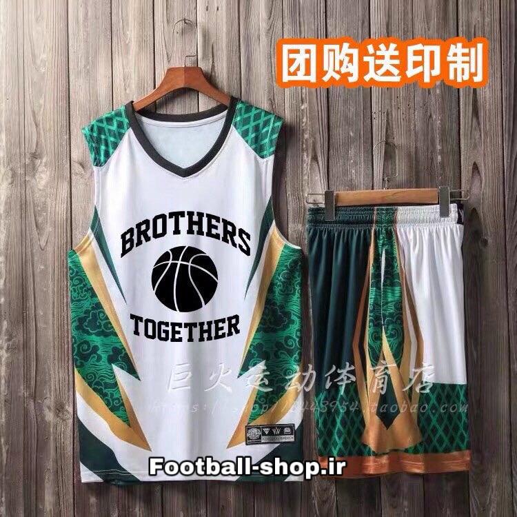 رکابی شورت بسکتبال سفید سبز +A (بچه گانه) هواداری 2020