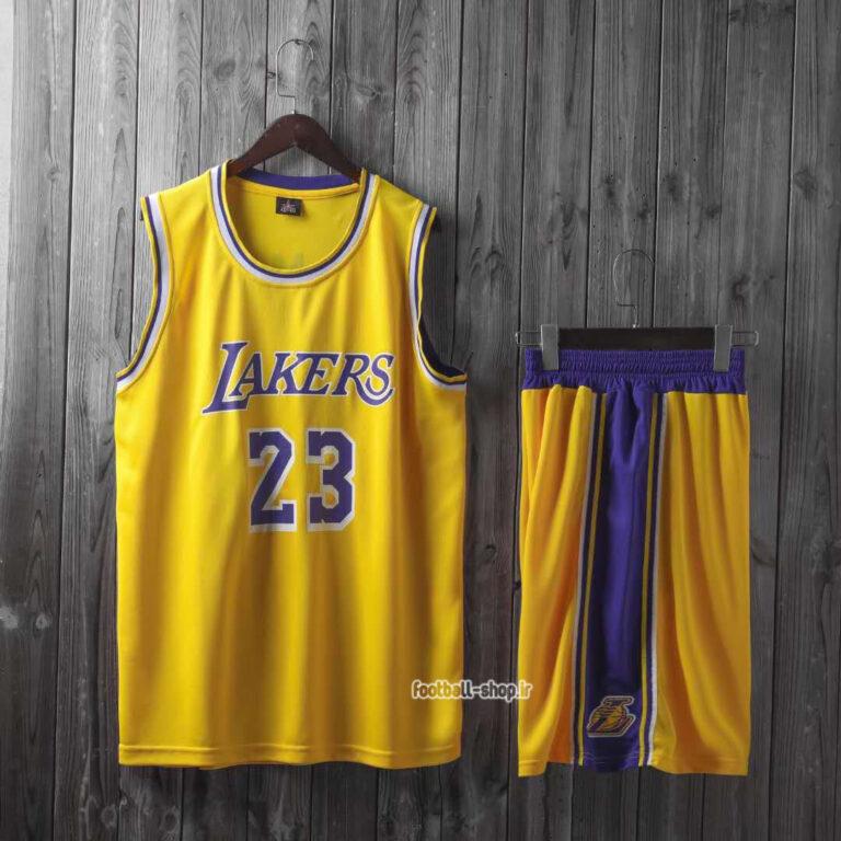 رکابی و شورت زرد بسکتبال لیکرز| لبران جیمز 23 ,اصل سوزنی