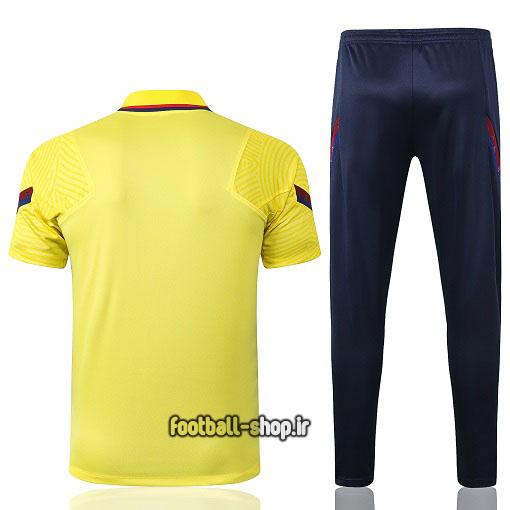 پولوشرت شلوار بارسلونا زرد سرمه ای +A اریجینال 2021-Nike