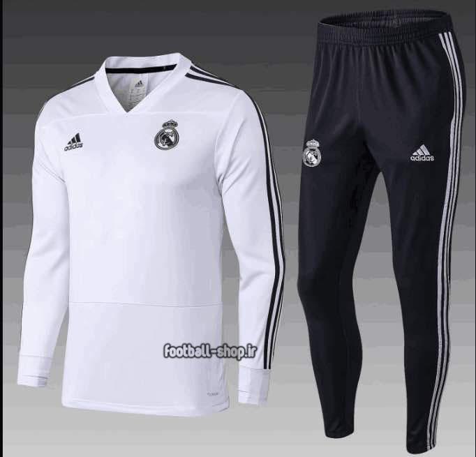 ست سویشرت شلوار سفید و مشکی رئال مادرید +A اریجینال-Adidas