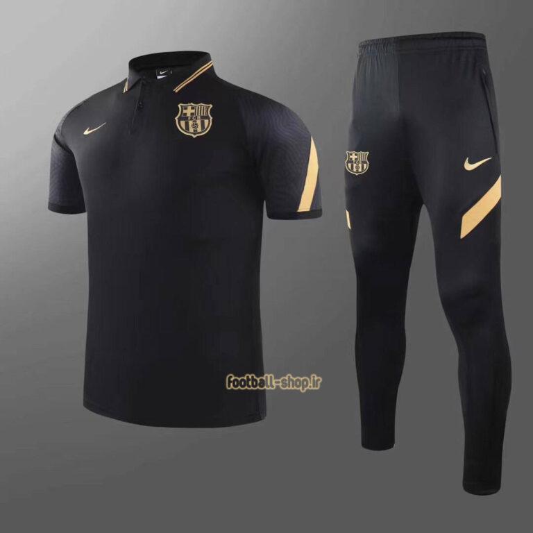 پولوشرت شلوار بارسلونا مشکی طلایی+A اریجینال 2022-Nike