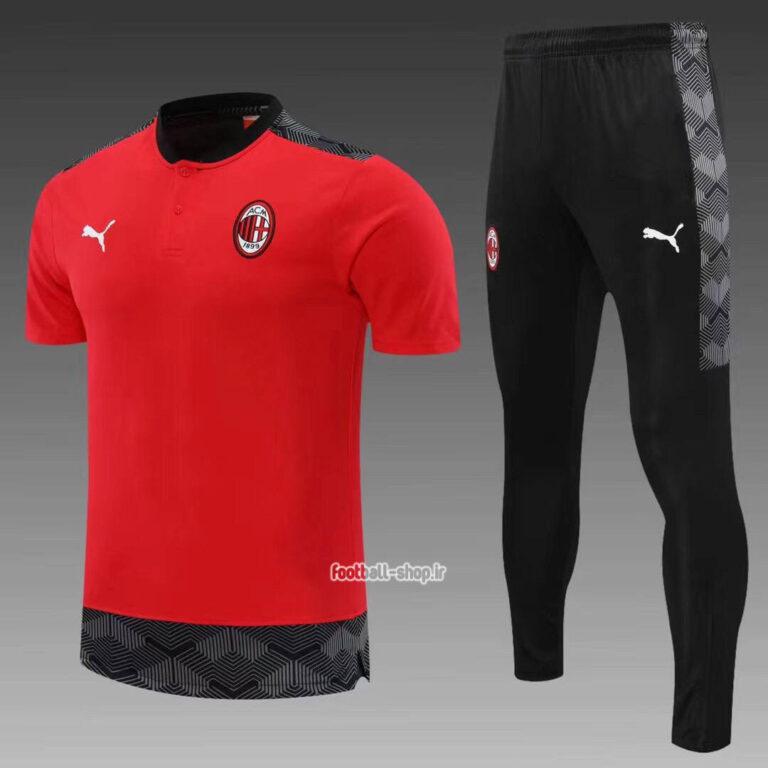 پولوشرت شلوار میلان قرمز مشکی +A اریجینال 2022-Puma
