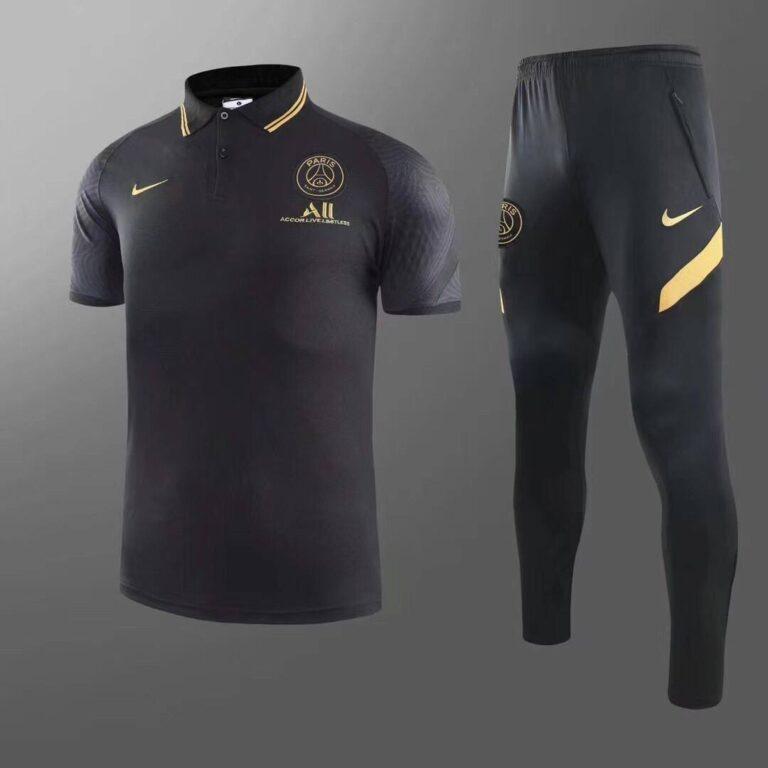 پولوشرت شلوار پاری سن ژرمن مشکی طلایی +A اریجینال 2022-Nike