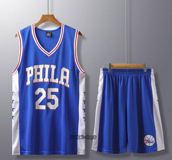 رکابی و شورت بسکتبال فیلادلفیا آبی | سیمونز 25 ,اصل سوزنی