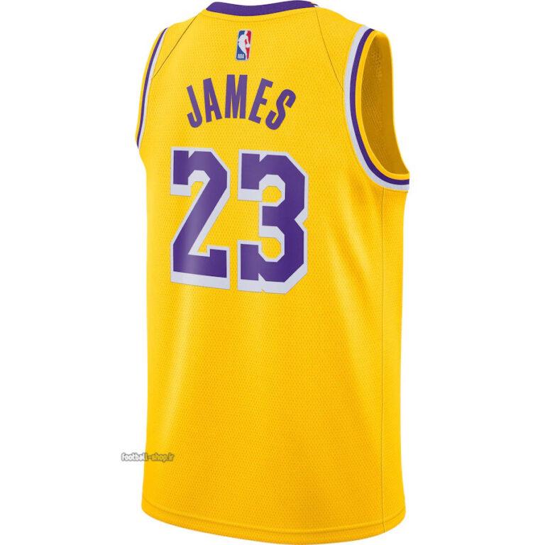 رکابی بسکتبال لیکرز 2021 زرد  لبران جیمز 23,NBA JERSEY اصل NIKE