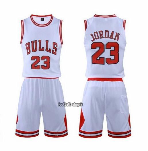 رکابی و شورت بسکتبال شیکاگوبولز مایکل جردن 23#سفید,اصل سوزنی
