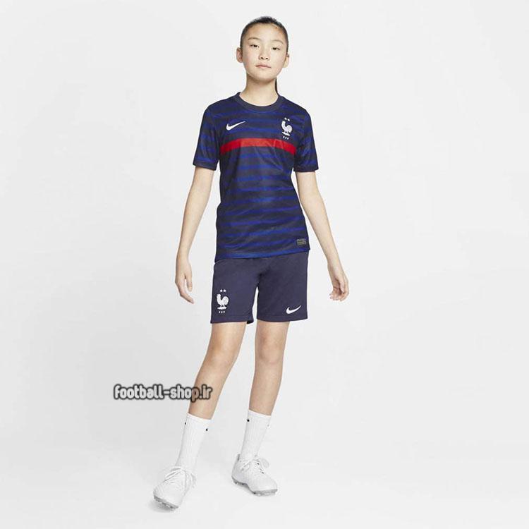 لباس و شورت اول فرانسه 2022 اریجینال +A بچگانه-Nike