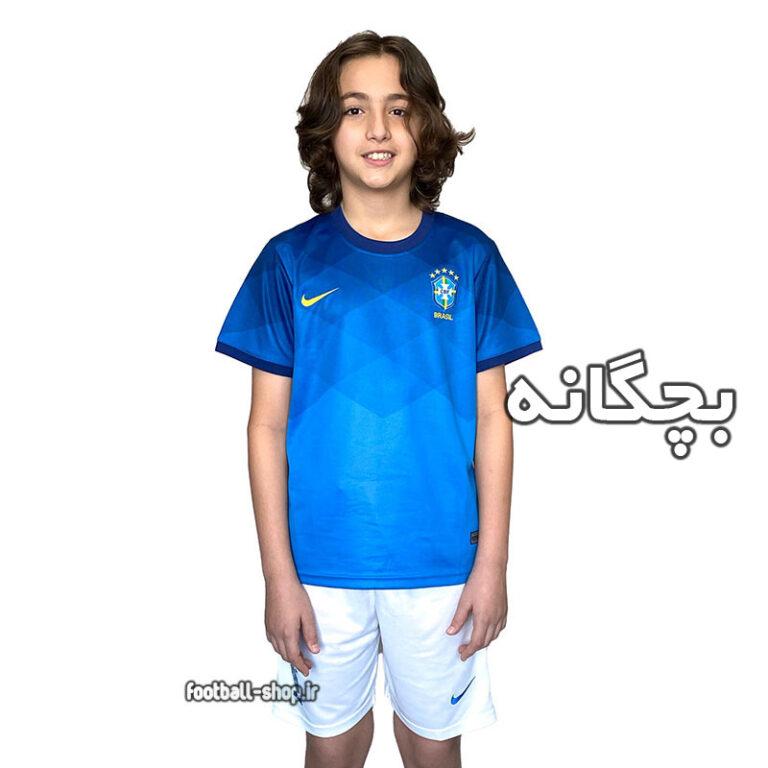 لباس و شورت آبی دوم برزیل 2022 اریجینال +A بچگانه-Nike