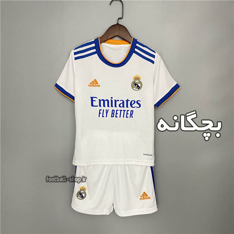 لباس و شورت اول رئال مادرید 2022 اریجینال +A بچگانه-Adidas
